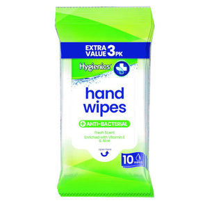 Hygienics Hand Wipes 10 Wipes - 3 Pack