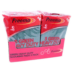 Preema Heavy Duty Green Scouring Pads 5 Pack - Case of 10
