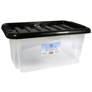 Stackable Storage Container Box with Black Lid 13L