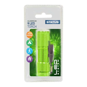 Status Aluminium 9 LED Torch Green