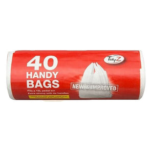 TidyZ Handy Bags with Tie Handles 15 Litre Extra Strong 40 Pack Roll