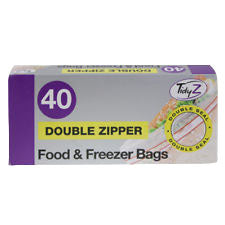 TidyZ Double Zipper Food & Freezer Bags 40 Pack