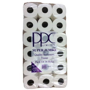 PPC Super Jumbo White Quality Toilet Paper 36 Roll Value Pack