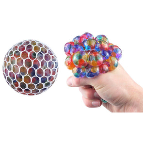 Ball Squeeze With Mesh And Beads 7cm 4 Assorted Colours
