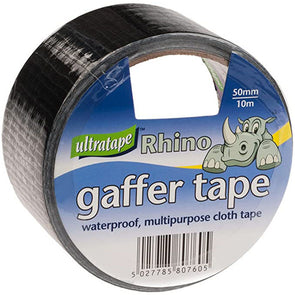 Ultratape Rhino Gaffer Cloth Tape Black 50mm x 10m - Case of 6