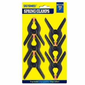 "Top Tools Heavy Duty Clip Pegs Spring Clamp Jaw Nylon 3"" 6 Pack"