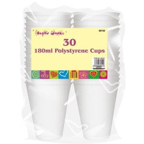 Polystyrene Cups 180ml 30 Pack