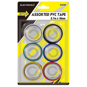Assorted PVC Tape 6 Pieces - 2.7m x 18mm