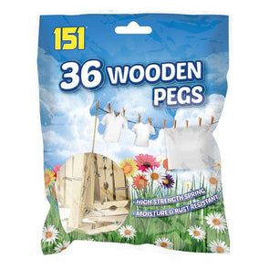 151 Wooden Clothes Pegs 36 Pack