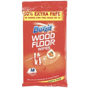 Duzzit Wood Floor Extra Large Wipes 18 Pack - Case of 12