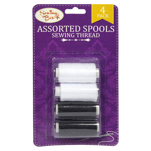 Sewing Box Assorted Spools Sewing Thread Black & White 4 Pack