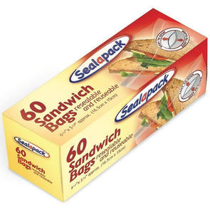 SealaPack Resealable Reuseable Sandwich Bags 60 Pack
