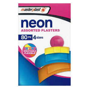 MasterPlast Neon Assorted Plasters 80 Pack