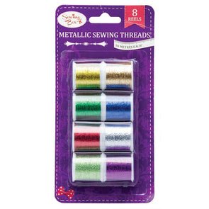 Sewing Box Metallic Sewing Threads 8 Reels Pack of Assorted Colours