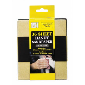 151 Decorators Tools Handy Sandpaper 36 Sheet Pack