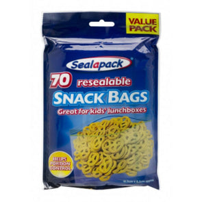 SealaPack Resealable Snack Bags 70 Pack - Case of 24