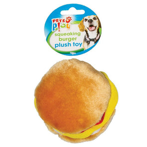 Pets Play Squeaky Burger & Hot Dog Plush Dog Toy 4 Assorted