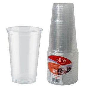 E-lite Style Disposable Plastic Drinking Cups Tumblers 1 Pint Clear 12 Pack