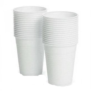 Disposable Plastic Drinking Cups White 100 Pack