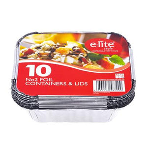 No2 Foil Containers & Lids 10 Pack - Case Of 24