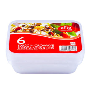 E-lite Style Microwave Food Containers with Lids 500cc 6 Pack