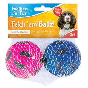 Feathers n Fur Rubber Dog Play Balls 2 Pack