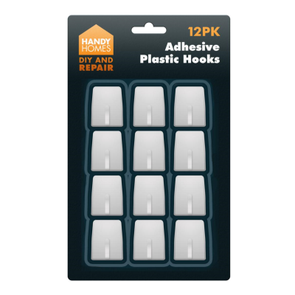 Handy Homes Adhesive Plastic Hooks 12 Pack