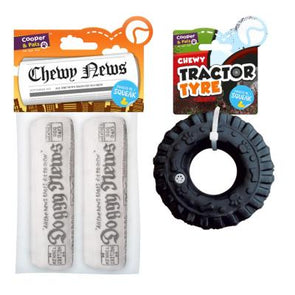 Chewy Newspaper & Tyre Squeaky Dog Toys