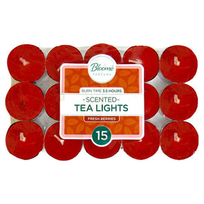 Bloome Scented Tea Lights 15 Pack Assorted Fresh Berries