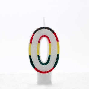 0 Multi Coloured Number Candle Pack of 6 (1/48)