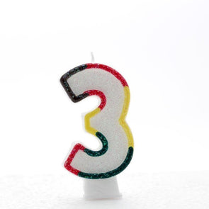 3 Multi Coloured Number Candle Pack of 6 (1/48)