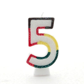 5 Multi Coloured Number Candle Pack of 6 (1/48)
