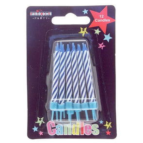 Birthday Party Candles Blue Stripe 12 Pack - Case of 6
