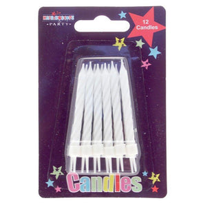 White Stripe Party candle 12pcs Pack of 6 (48)