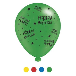 """Happy Birthday"" Design Latex Balloons Assorted Colours 8 Pack - Case of 6"