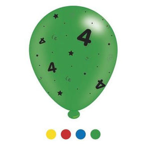 """4"" Design Latex Birthday Balloons Assorted Colours 8 Pack - Case of 6"