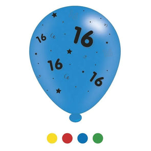 """16"" Design Latex Birthday Balloons Assorted Colours 8 Pack - Case of 6"