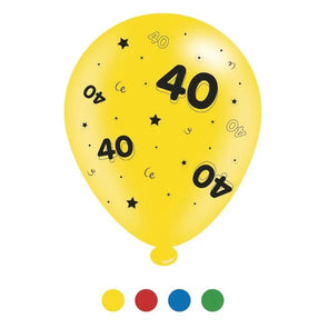 """40"" Design Latex Birthday Balloons Assorted Colours 8 Pack - Case of 6"
