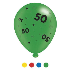"""50"" Design Latex Birthday Balloons Assorted Colours 8 Pack - Case of 6"