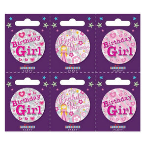 "Birthday Badges ""Birthday Girl"" Design Small - Case of 6"