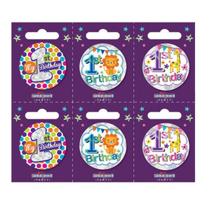 Birthday Badges Age 1 Small - Case of 6