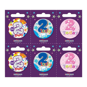 Birthday Badges Age 2 Small - Case of 6