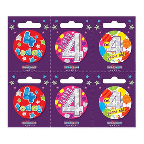 Birthday Badges Age 4 Small - Case of 6