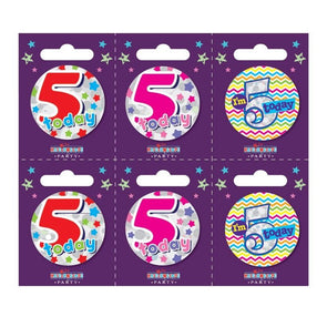 Birthday Badges Age 5 Small - Case of 6