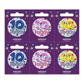 Birthday Badges Age 10 Small - Case of 6