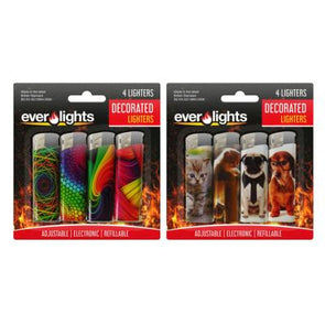 Decorated Electric Refillable Lighters 4 Pack - Case of 12