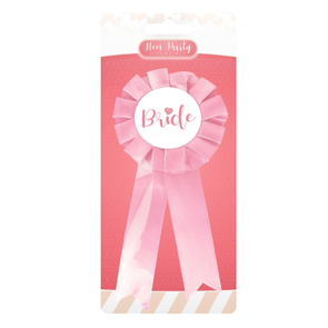 Hen Party Bride Pink Ribbon Badge