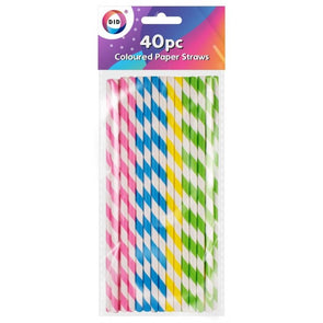 Coloured Paper Straws 40 Pack