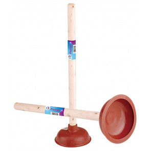 Sink Plunger with Long Wooden Handle