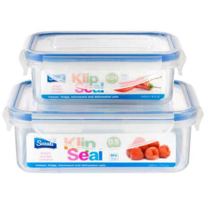 Sozali Klip Seal Airtight Food Containers 2 Pack 500ml 250ml